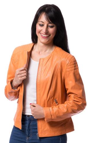 Paula orange Damen Lederjacke von SAKI